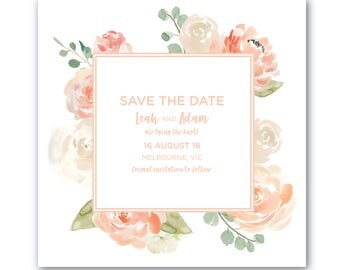 Printable Save the Date | Save the Date | Wedding | Invitation Suite | Peaches and Cream Suite