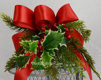 Decorated Lantern, Lantern with Battery candle, christmas lantern, christmas swag, battery candle