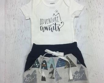 Boy pocket shorts, onesie in Adventure Awaits