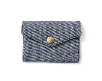 Minimalist Denim Wallet Slim Snap Wallet