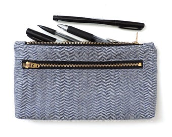 Blue Herringbone Clutch Purse Wallet Pencil Case Double Zipper Pouch Fisher Stripe