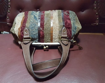 Fossil Handbag With Tapestry And Leather 16x8