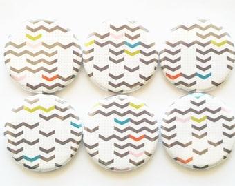 Chevron Magnets, Random Chevrons Refrigerator Magnets, Mini Chevrons, Fridge Magnets, Office Magnets, Colored Random Mini Chevrons, Set of 6