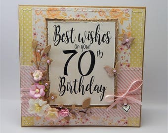 Handmade Stitched 70th Birthday Card