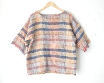 brown checked plaid woven oversized top 70s // M-L
