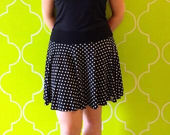 Circular skirt woman, adult clothing, MOM gift, spring summer, black white polka dots, monochrome / Circular women's skirt, polka dots
