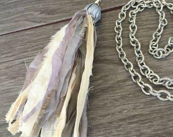 Sari Ribbon Tassel Necklace - Romance