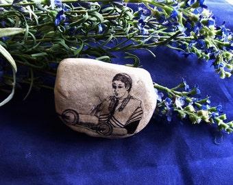One Bar Mitzvah Torah Reader wearing Tallit or Cantor Gift Recognition Rock with Jewish Torah Scroll