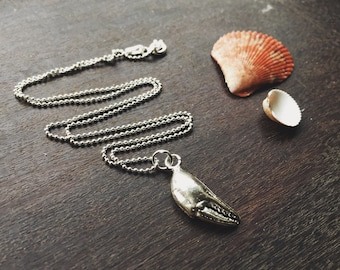 Sterling silver crab claw necklace, seashell necklace