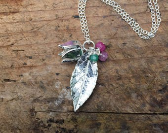 Sterling silver spring and summer flower and leaf necklace with ruby and emerald