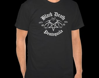 Black Death 777 - Pentequila  S-5XL tequila shirt moonshine pentagram wings goat piss alcohol cool t  shirt  devil demon black metal booze