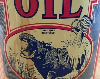 Wonderful Antique 1 quart Hippo Oil Can, Great Graphics