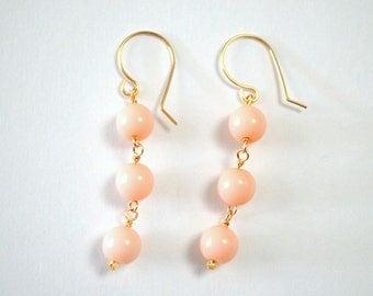 Pale Pink Vintage Bead Gold Filled Dangle Earrings