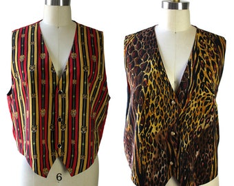 Red Gold & Black Circus Lion or Cheetah Reversible Vest