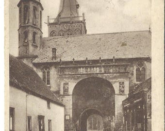 Cityscape, Church in Xanten, Germany.  Postcard 1919, Architecture
