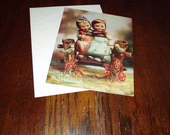 Vintage 1993 M.J. HUMMEL Blank Art Photo Greeting CARD with Envelope of Girl, Boy & Birds Outdoors - Unused, Adorable, Rare