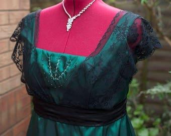 Emerald green Edwardian dress plus size dress Made in UK Titanic Downton Abbey vintage styled lace Emerald dress Emerald bridesmaids dress