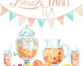Watercolor Peach Tea Cliparts - digital printable clipart  - 300 dpi PNG, transparent background