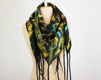 Merino Wool Felted Shawl with Silk Fibers, Black Shawl, Fancy Scarf, Felt Scarf