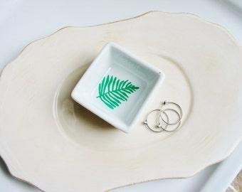 Illustrated Fern Ceramic Dish, Illustration Art Dish, Porcelain Ring Dish, Abstract Fern, Dish, Small Organizer, Engagement Gift, Minimalist