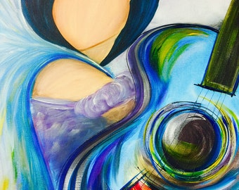 Jezzibelle, the blue jazz and music angel - Hand Painted Gorgeous Acrylic Angel Painting by Sheila A. Smith