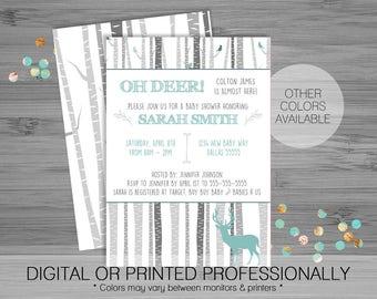 Oh Deer! Baby Shower Invitation - Printable Digital File - Custom