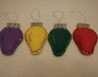 Felt Christmas Ornament Holiday Decoration Lightbulb set of 4