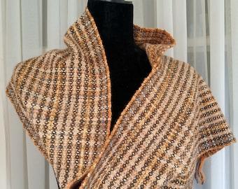 Hand-woven copper brown orange winter scarf, hand-loomed warm scarf, wool alpaca cashmere silk, soft luxury scarf, woven scarf, gold scarf