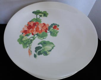 Salem China - Geranium Pattern - Seven Plates