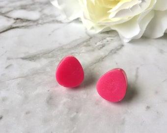 Hot Pink Fuscia Dewdrop Teardrop Resin Post Stud Earrings. Nickel Free. Made by Hand in Australia. For Sensitive Ears.
