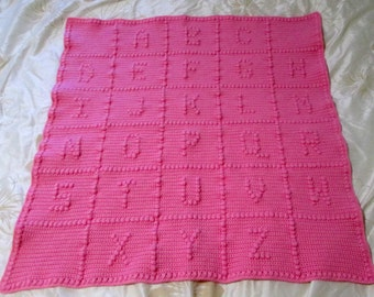 ABC Baby Blanket Pink Alphabet Blanket Afghan Crochet Ready to Ship Unique Baby Shower Gift Ready to Ship Made in Canada