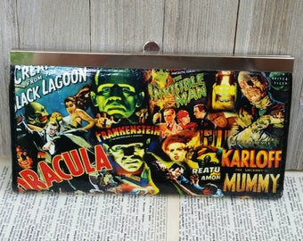 Classic Horror Wallet Horror Clutch Monster Wallet Monster Clutch Movie Lover Wallet Dracula Frankenstein Wolfman Karloff Lugosi