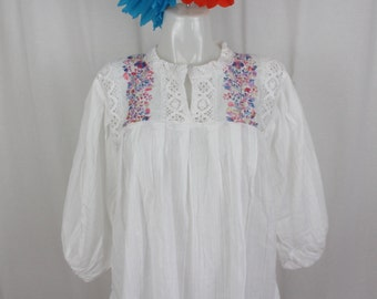 100% Cotton HandEmbroidered Flowers on Blouse with Lace Trim- BOHO-Hippie- Fun- Bohemian Fashion