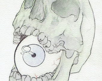 Skull and eye drawing