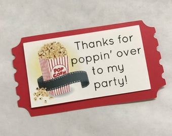 Movie night popcorn party favor tag