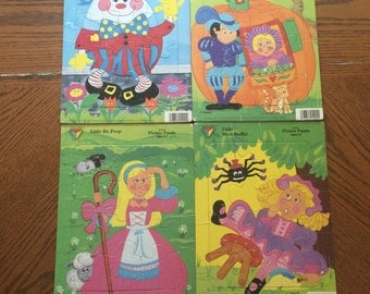Vintage 1989 Color World Press Nursery Rhyme puzzle your choice of 1-Humpty Dumpty, little bo peep, little miss muppet, Peter pumpkin eater