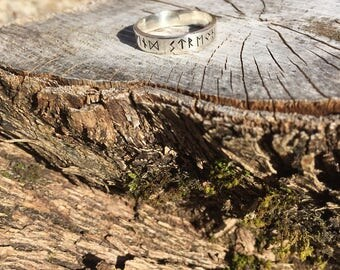 viking runic sterling silver ring,find strength , Elder Futhark,norse, jewellery, hand stamped, personalized, your message, custom size
