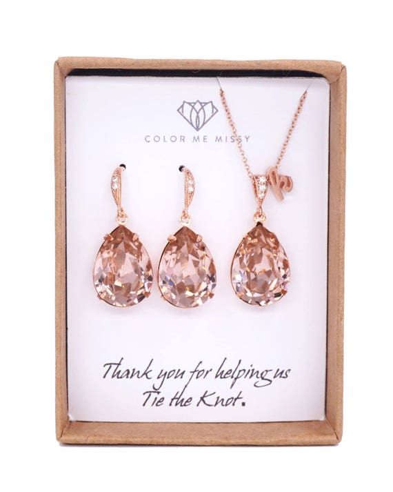 Rose gold,Bridesmaid Gift,Bridesmaid Jewelry Set,Bridesmaid Earrings,Necklace Set,Personalized Bridesmaid Gift,Wedding Jewelry Set,