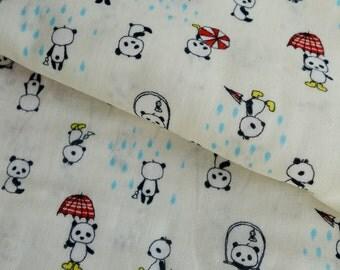 Pandas on a Rainy Day - Red - Japanese Double Gauze - Kobayashi - Lightweight Cotton Fabric - HALF YD