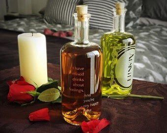 """NEW """"Inebriated Intentions"""" Decanter Series """"Mixed""""- Perfect for a lover of the home bar, cocktails and personalized romance."""
