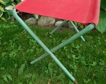 Vintage Folding Camp Stool Metal