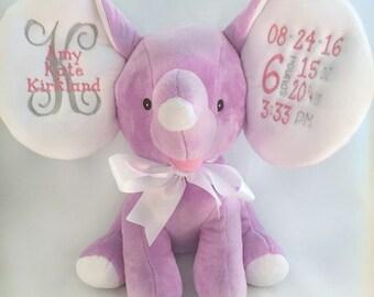 Personalized Stuffed Animal - Birth Announcement Stuffed Animal - Baby Girl Gift - Elephant Nursery Plush - Birth Statistics - New Baby Gift
