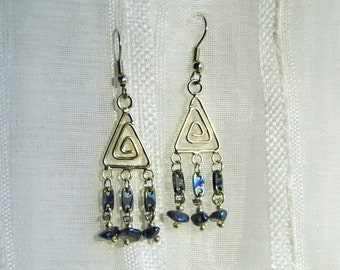 Silver and Blue Triangle Earrings