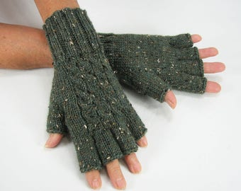 Ladies Wool Donegal Tweed, Forest Green Heather, Cabled, Half-Fingered Gloves, Thick, Super Warm, Durable, READY TO SHIP