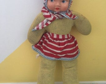 Vintage Soft Body Toy Doll With Plastic Face