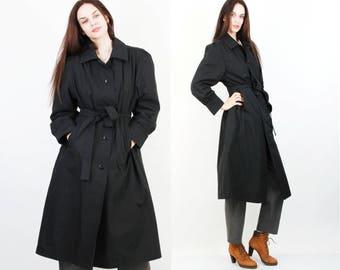 Vintage 80s Black Jacket / Belted Jacket / Bell Coat / Large Jacket / Black Trench Coat / Cotton Jacket