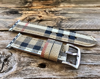 Artisan watch strap apple watch burberrys Hand made !!!