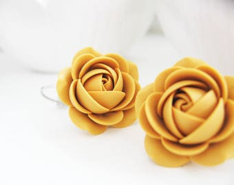 Polymer clay Mustard Yellow rose flower Bridal Bridesmaids leverback earrings
