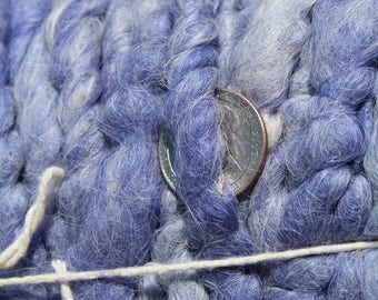 100% suri HEATHERED BLUE core spun rug yarn