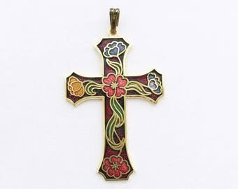 Vintage French Enamel Cross Pendant Religious Cross Charm Protection Necklace